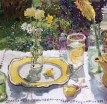 Yellow Plate and Flowers